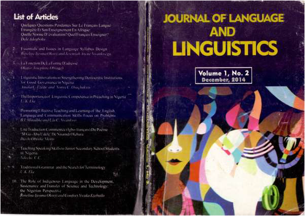 Journal of Language and Linguistics, December 2014 Issue, Volume 1, Number 2