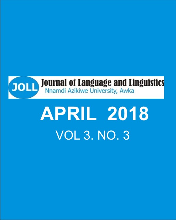 Journal of Language and Linguistics, April 2018 Issue, Volume 3, Number 3
